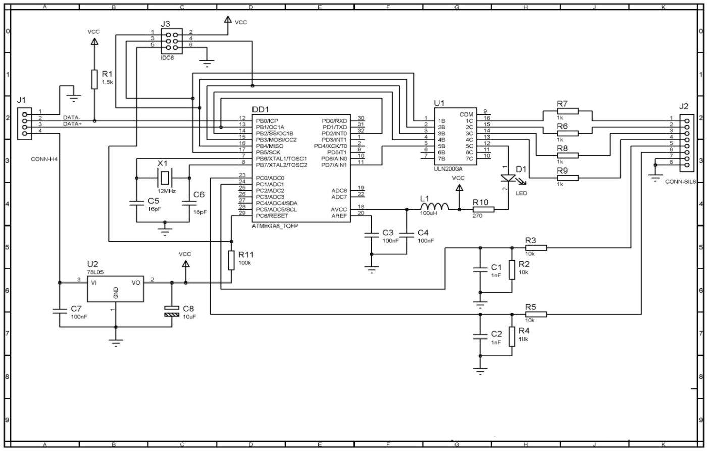 Рис.3. Электрическая принципиальная схема внешнего устройства управления.